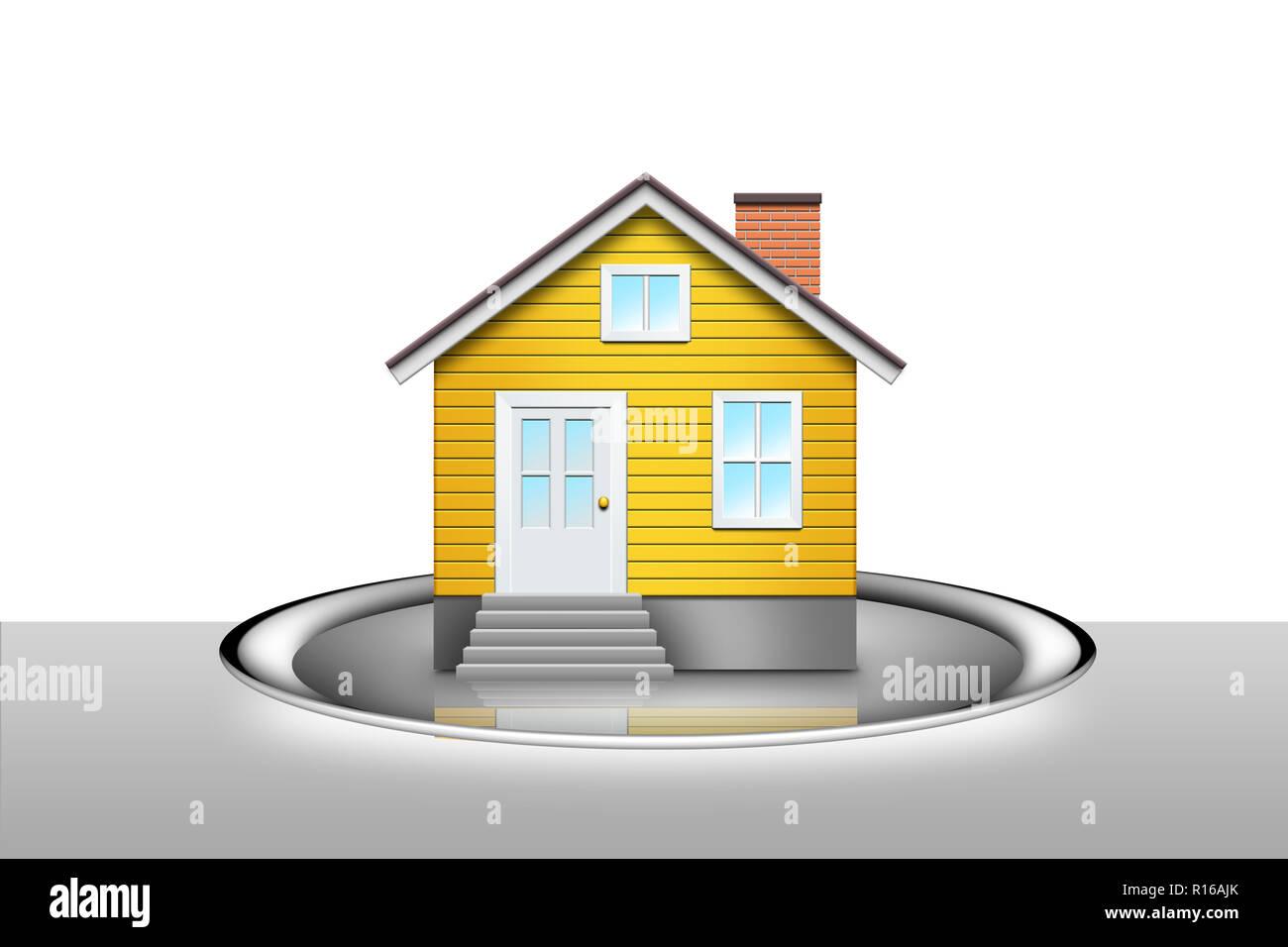 """Digitales Bild von Haus auf silbertablett - """"Hand auf einem Silbertablett"""" Stockbild"""