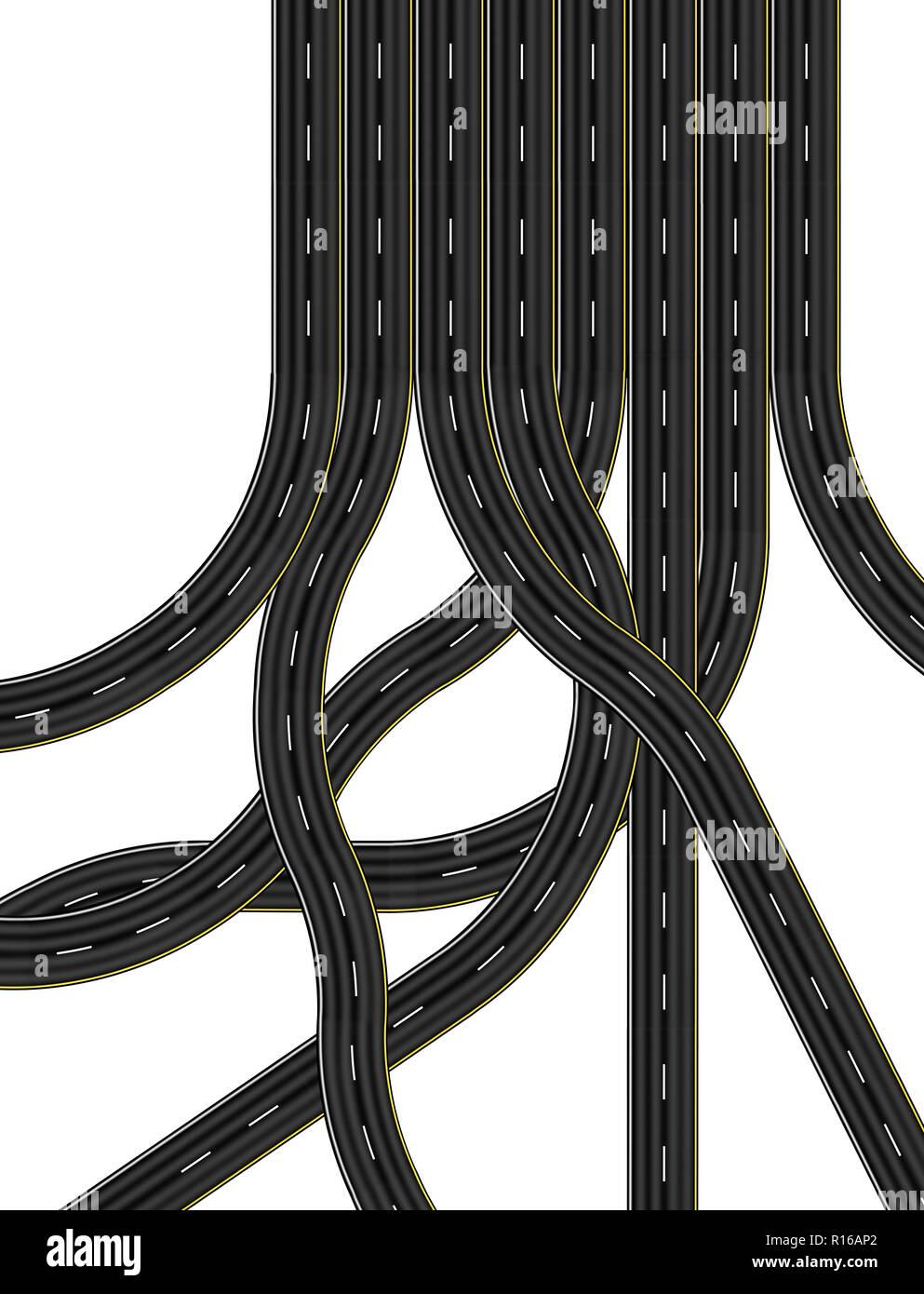Kreuzungen und Straßen, die nach acht Lane Highway, digitale Bild, Ansicht von oben Stockbild
