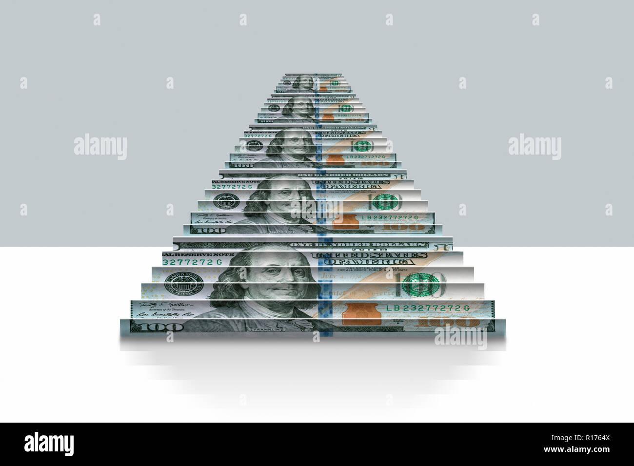 US Dollar Noten gefaltet in Schritte, grauer Hintergrund Stockbild