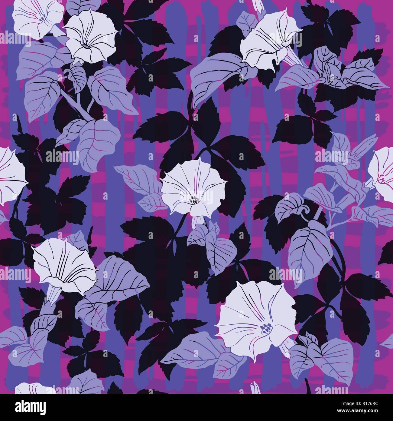 Flieder Und Lila Bluten Von Dope Florale Muster Auf Dem Schwarzen