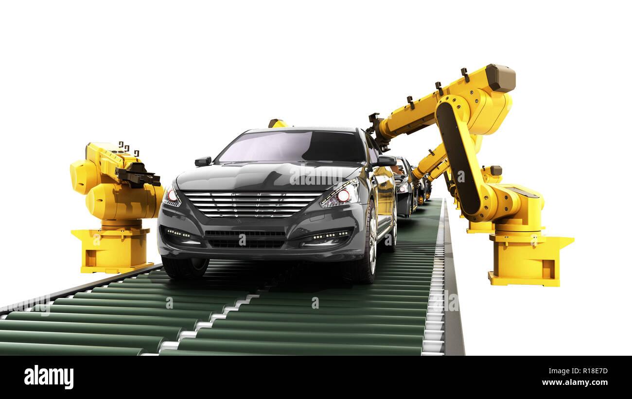 Roboter in der autofabrik 3D-Render auf Weiß kein Schatten Stockbild