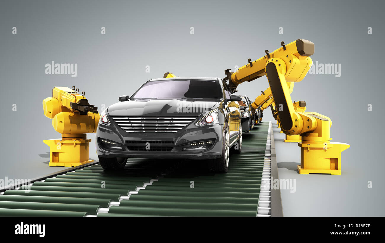 Roboter in der autofabrik 3D-Render auf Grau Stockbild
