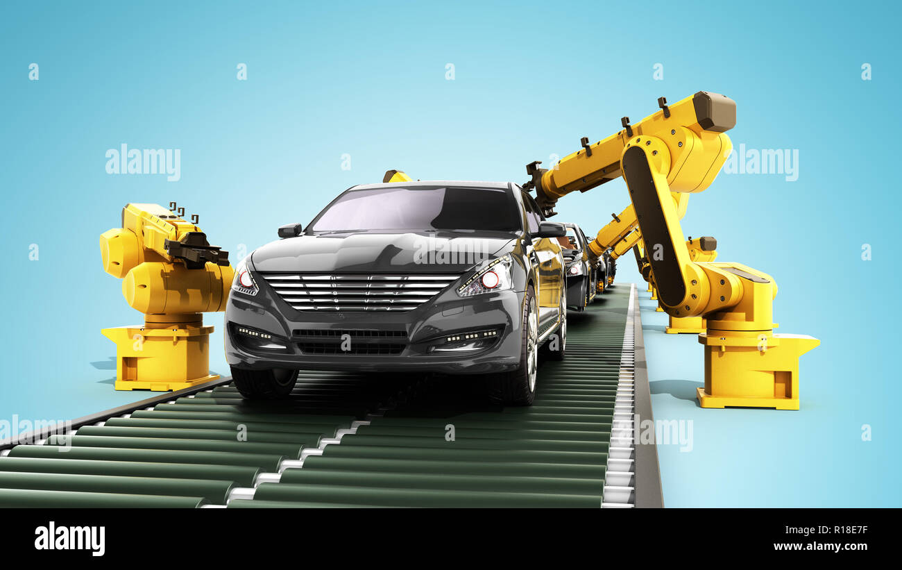 Roboter in der autofabrik 3D-Render auf Blau Stockbild