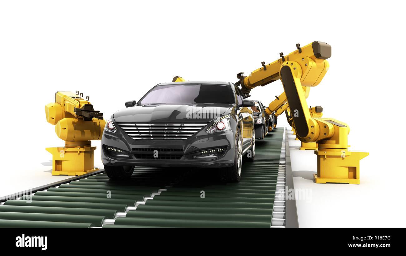 Roboter in der autofabrik 3D-Render auf Weiß Stockbild