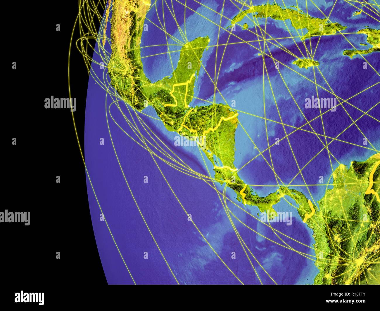 Mittelamerika aus dem Weltraum auf dem Planeten Erde mit Linien, globale Kommunikation, Reisen, Verbindungen. 3D-Darstellung. Elemente dieses Bild Stockfoto