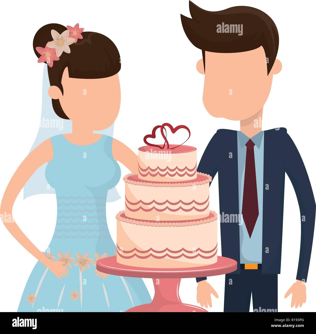 Brautpaar Mit Hochzeitstorte Herzen Dekoration Cartoon Vector