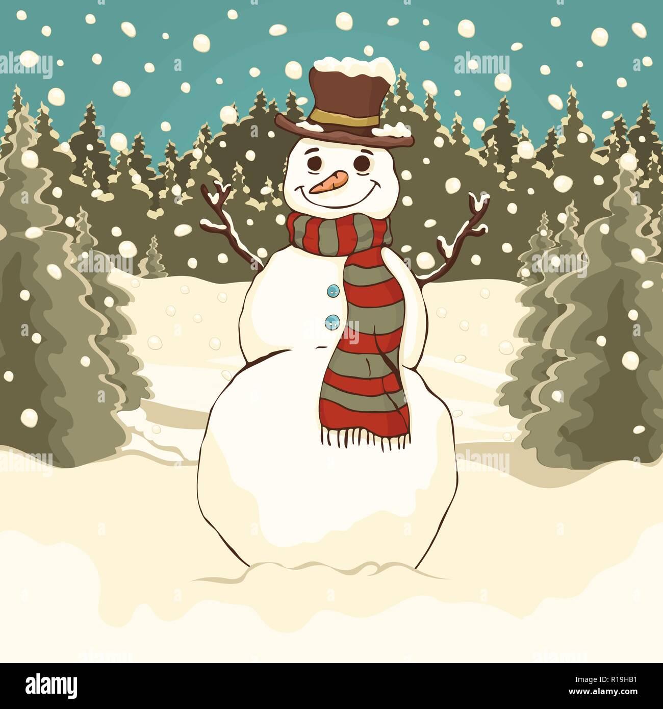 Lustige süße Schneemann, Cartoon bunte Zeichnung, Vector ...