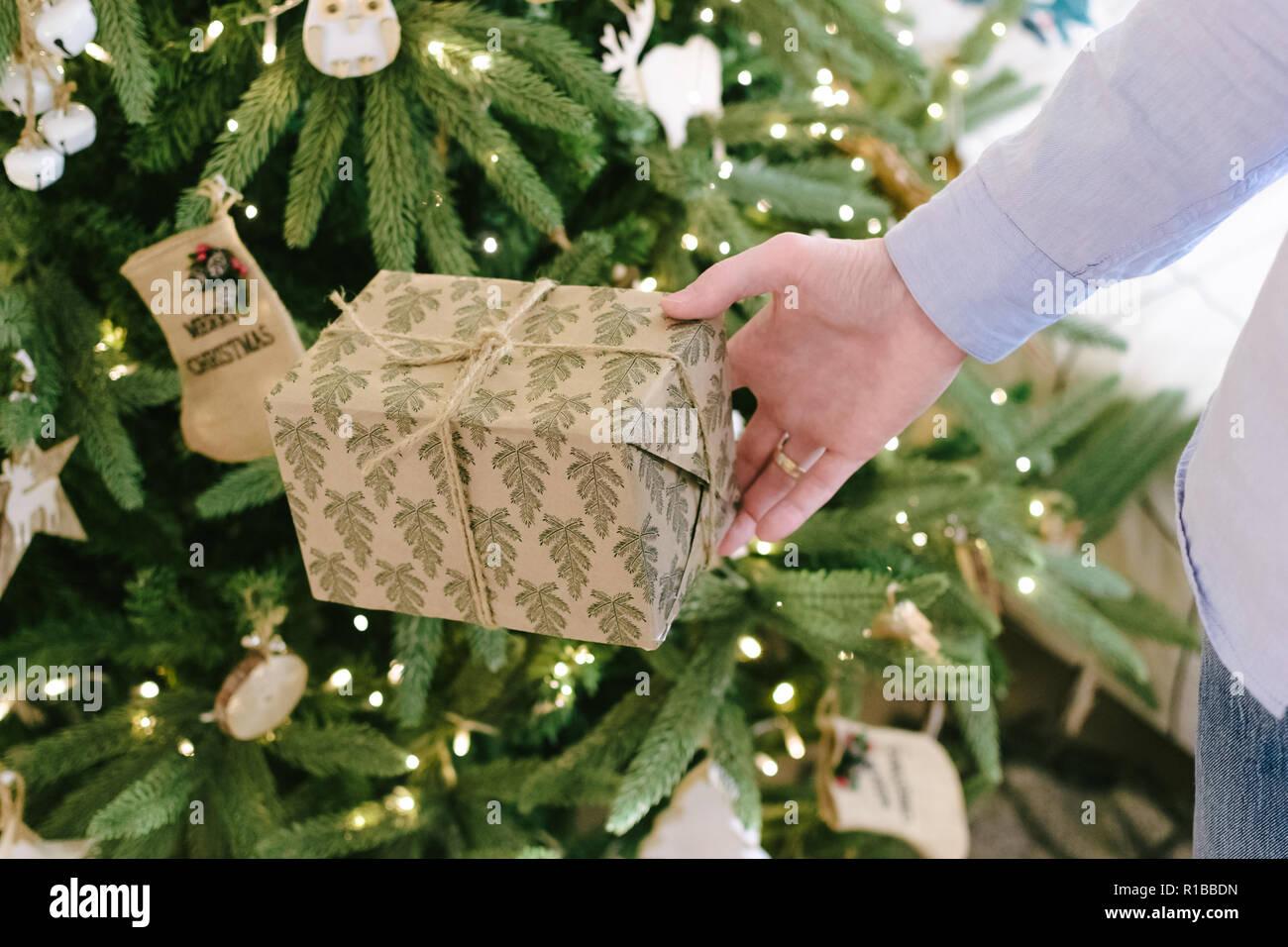 Ehemann, Vater, Freund versteckt sich ein Geschenk unter dem Baum ...