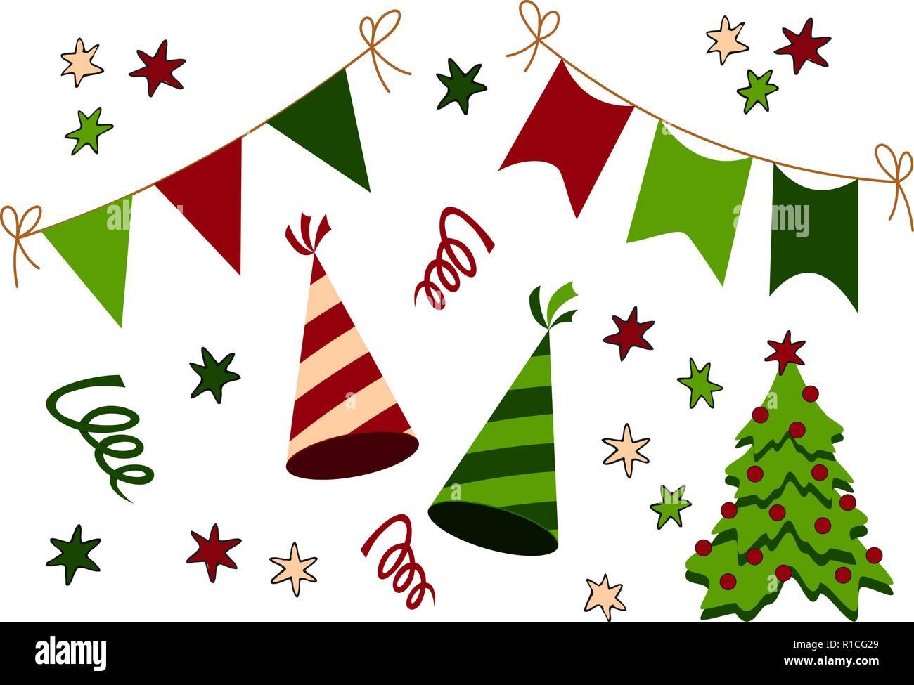 Geburtstag Weihnachten Und Neues Jahr Partei Material Icon Sammlung