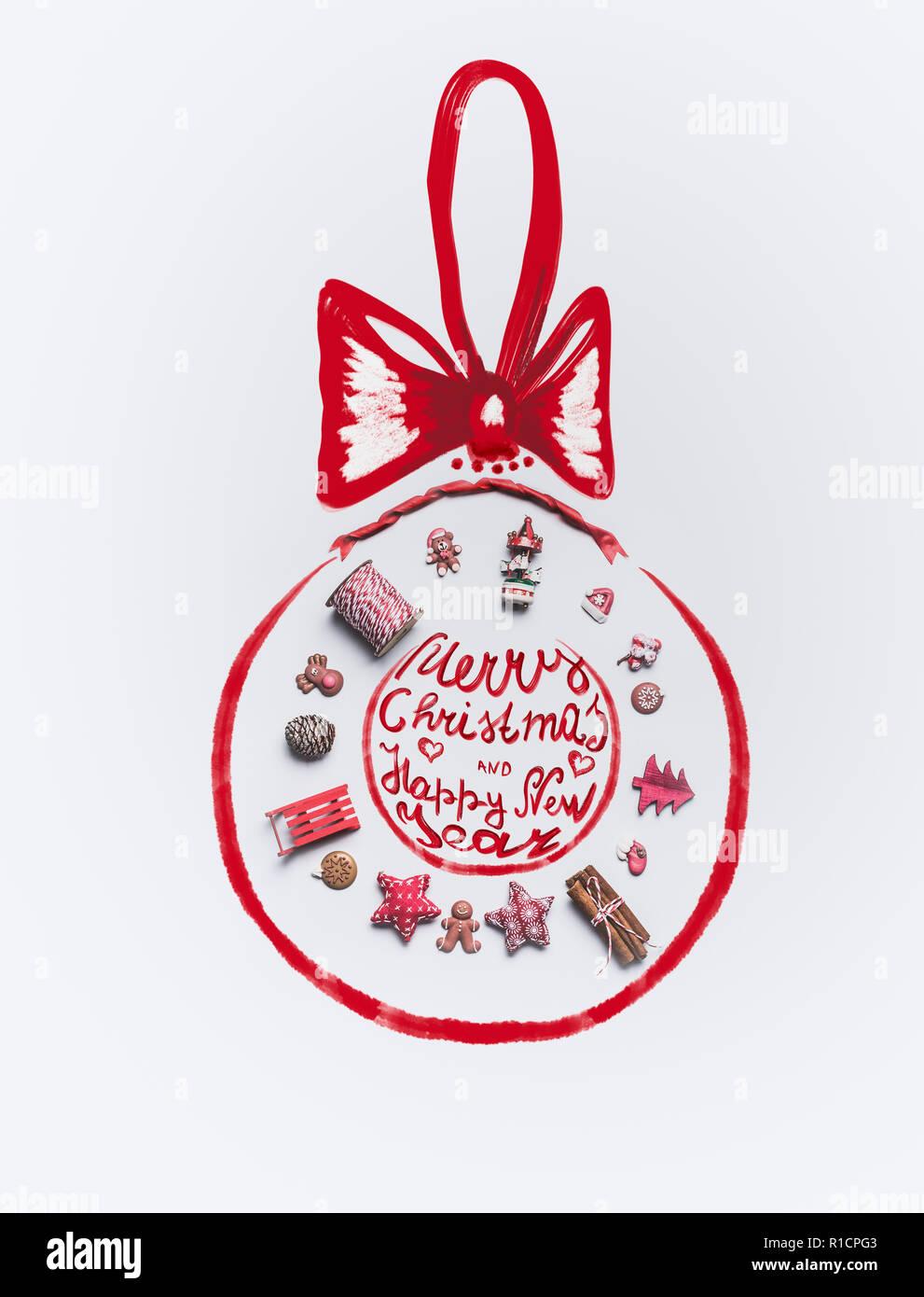 Frohe Weihnachten Band.Weihnachten Dekoration Objekte In Form Von Weihnachtskugel Mit Band