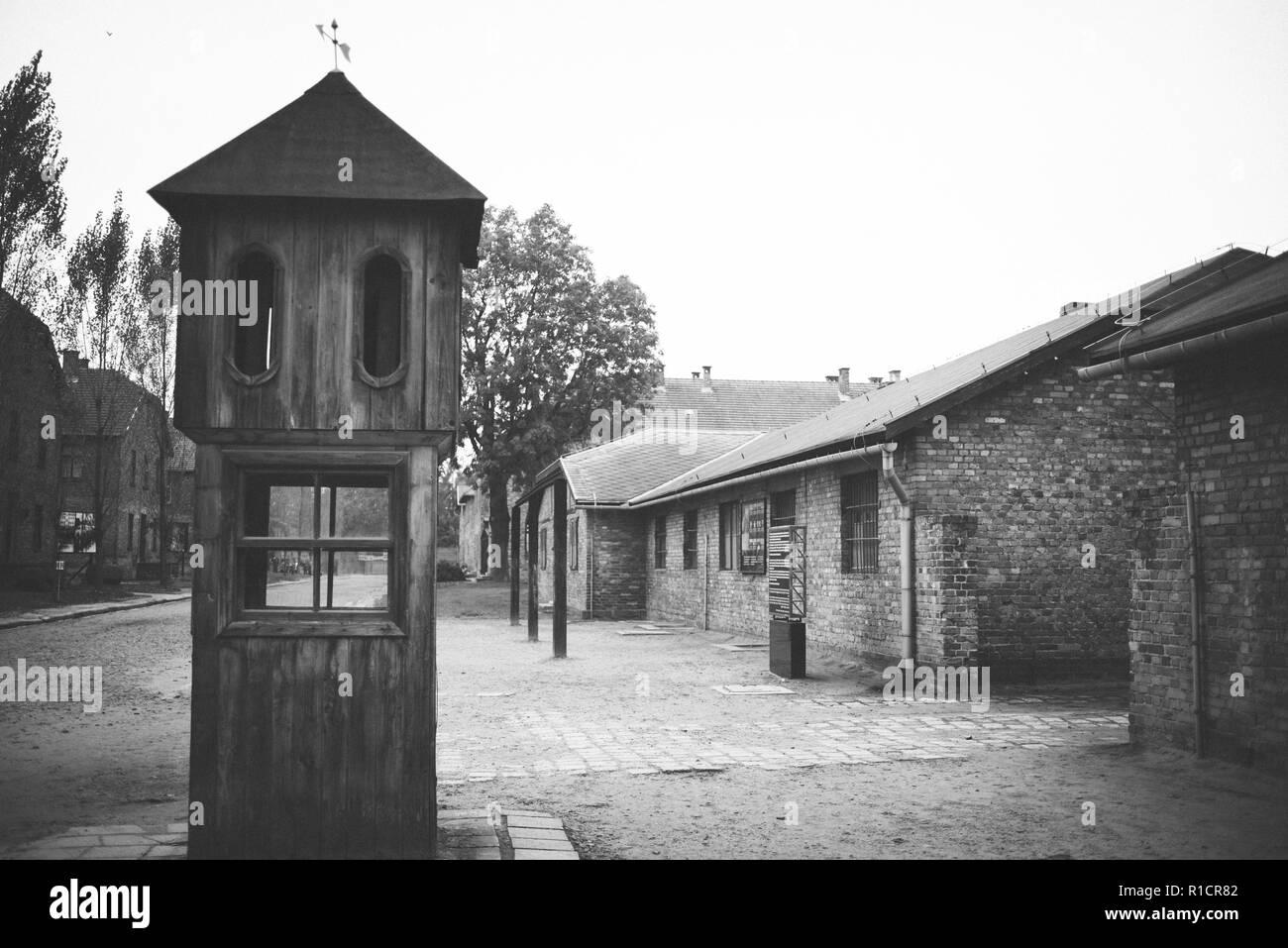Auschwitz Nazi Konzentrations- und Vernichtungslager. Stand, wo die SS, die Anzahl der Gefangenen. Auschwitz, deutsch besetzten Polen, Europa Stockbild