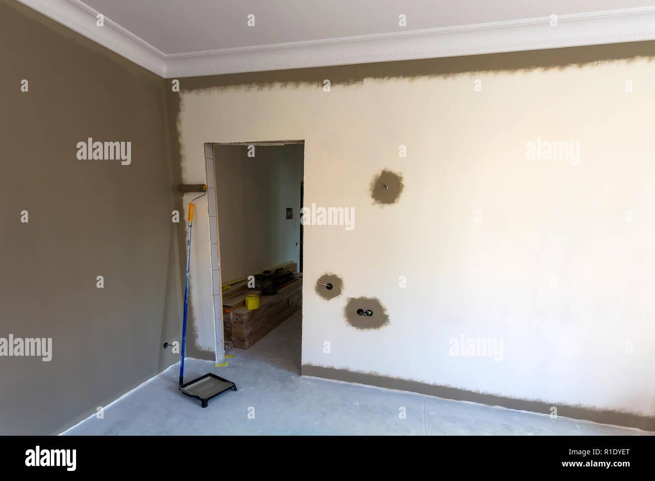 Innenbereich Einer Wohnung Zimmer Während Der Renovierungsarbeiten