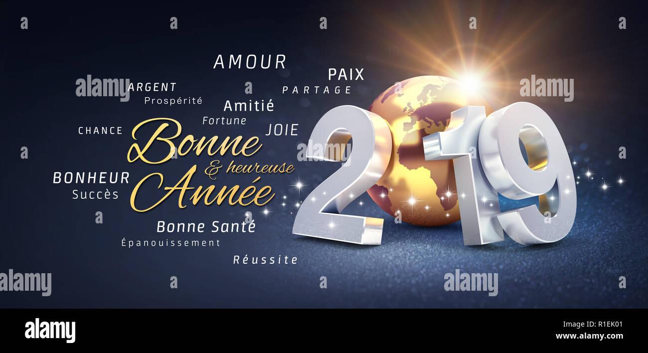 Frohes Neues Jahr Grüße, beste Wünsche in französischer Sprache und ...