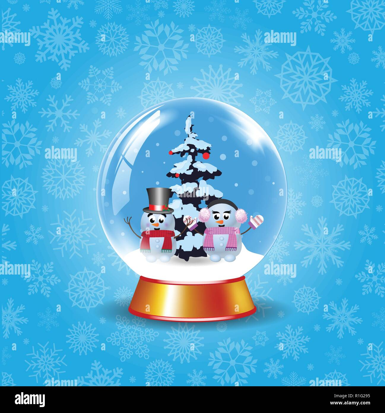 Weihnachten, Neujahr crystal Schneekugel mit ein paar niedliche ...
