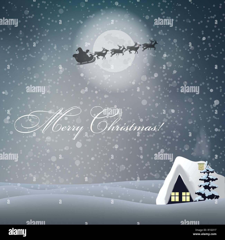 Frohe Weihnachten Grußkarte mit niedlichen Winter verschneite Nacht ...