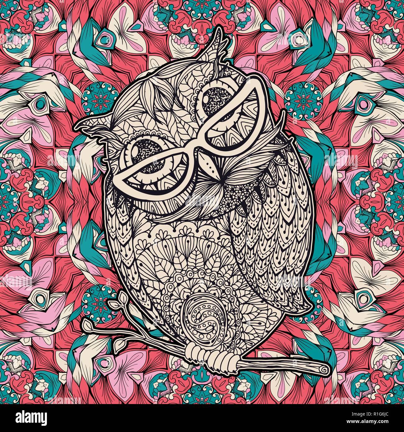 Eule Mit Glaser Farben Seite Oder Ein Buch Vektor Poster Design Mit