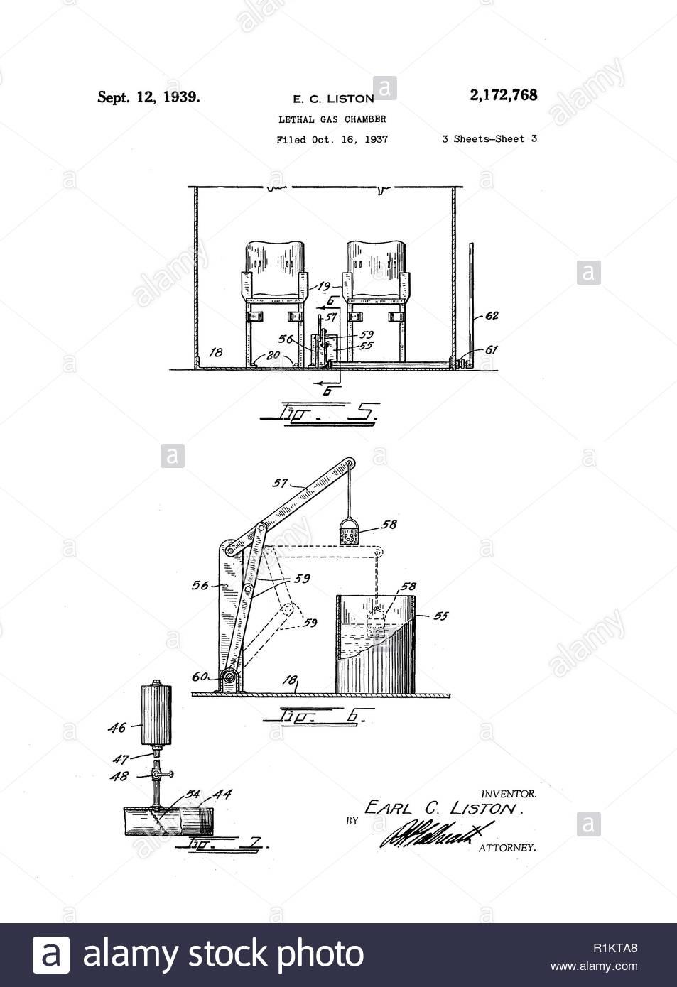 Tödliche Gaskammer 3/3 Stockbild