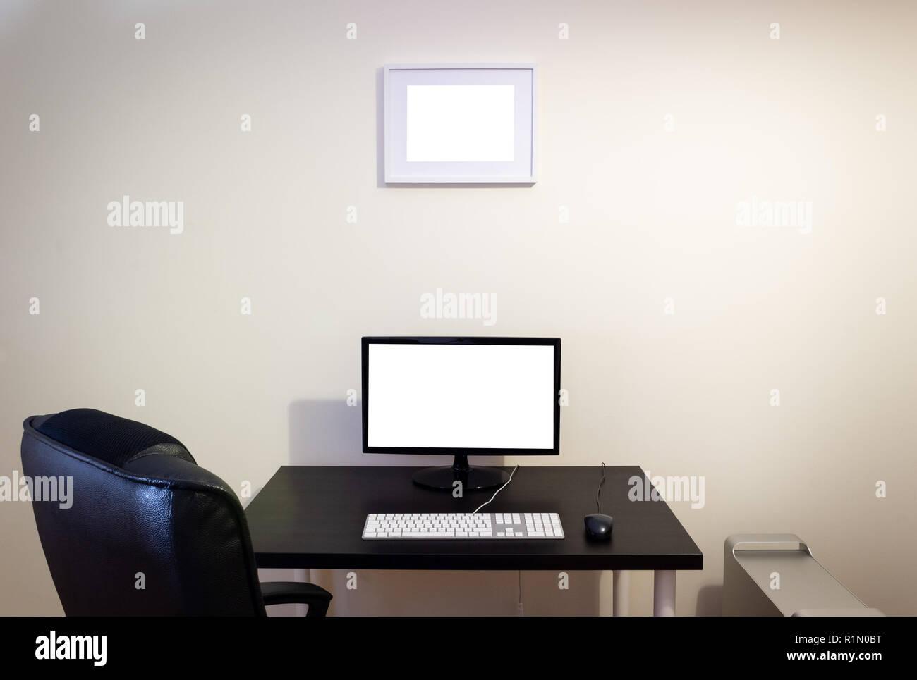 Computer Auf Holz Schwarz Schreibtisch Mockup Lcd Bildschirm