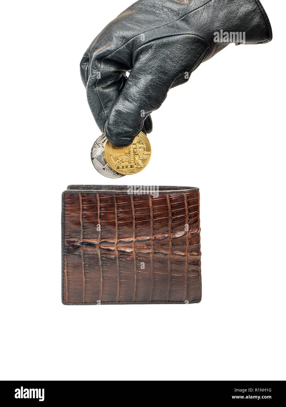 Dieb In Handschuhe Zieht Ein Silber Und Gold Münze Bitcoin Ihrer