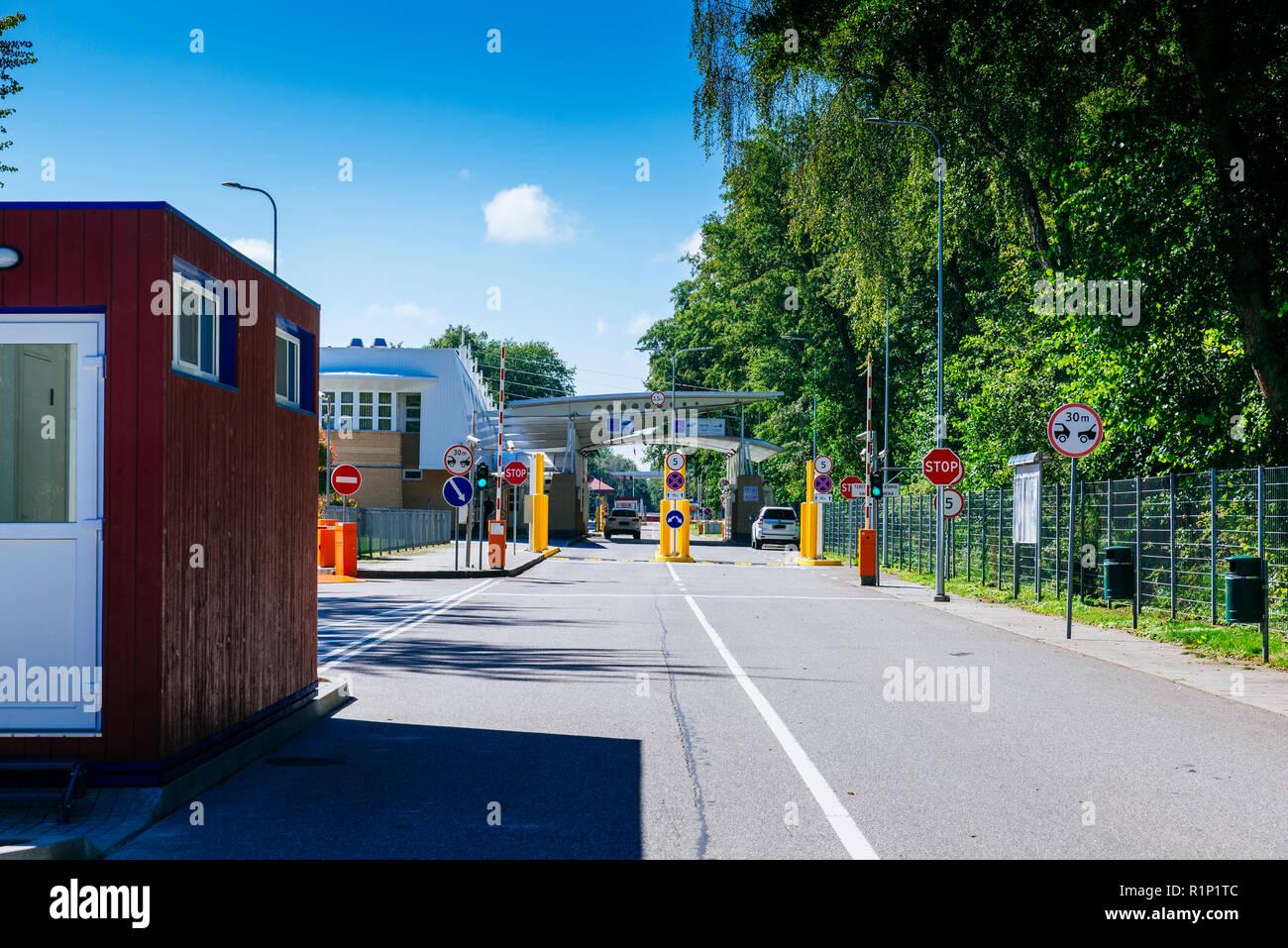 Grenze zwischen Litauen und Kaliningrad. Kurische Nehrung. Nida, Neringa Gemeinde Grafschaft, Klaipeda, Litauen, Baltikum, Europa. Stockbild