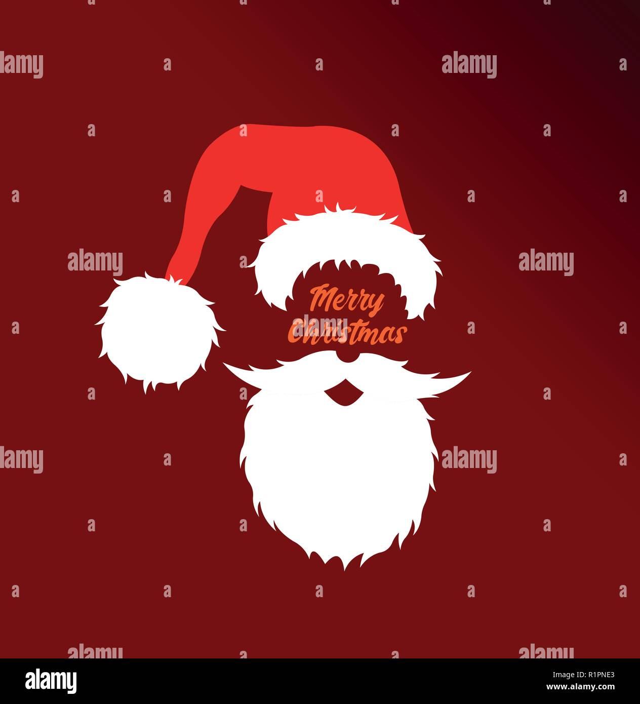 Santa Claus Kopf cartoon mit frohe Weihnachten Nachricht. Alle ...