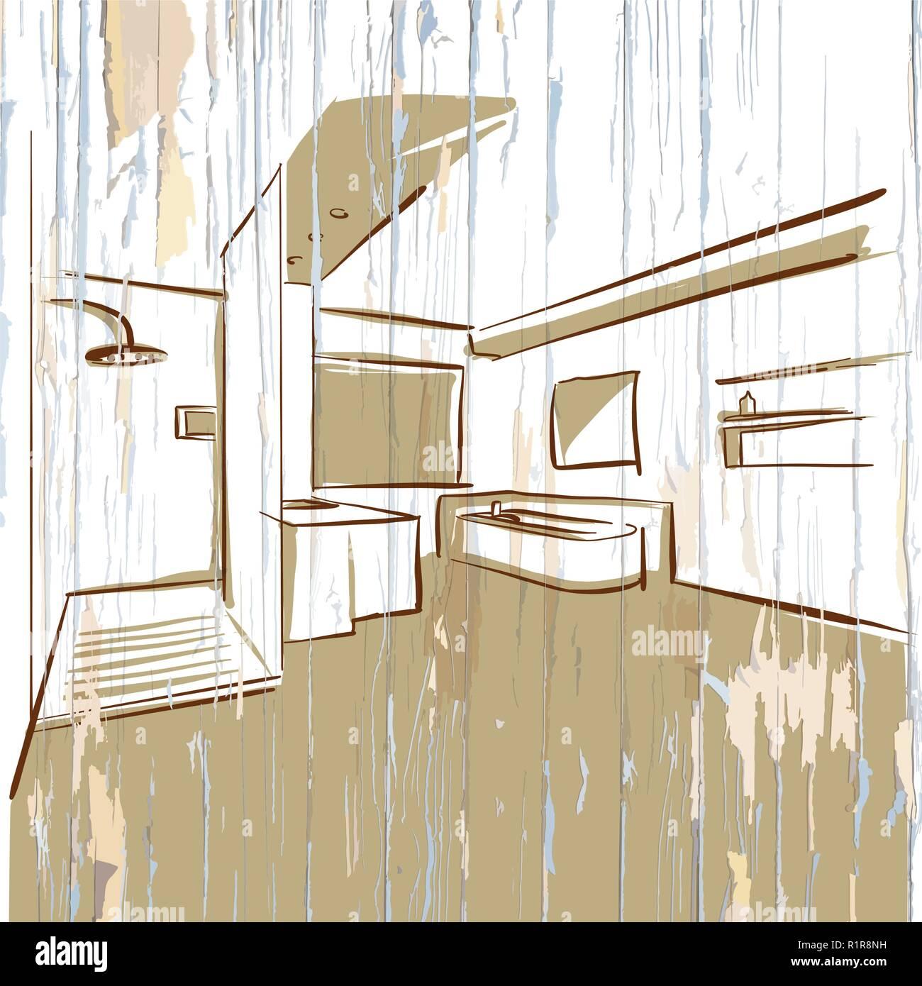 Super Modernes Hotel Bad, vintage Skizze. Handgezeichneten Vector WQ54