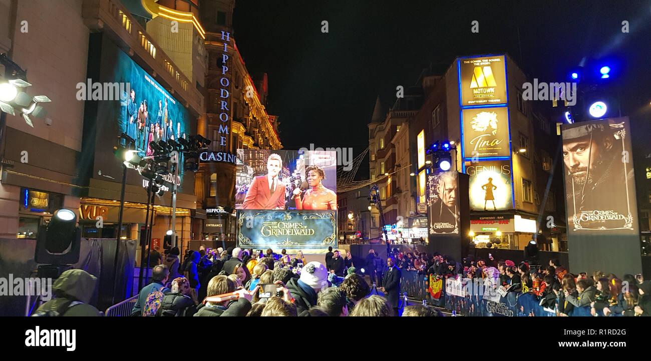 London, UK, 13.Nov, 2018, fantastische Tiere: Die Verbrechen von Grindelwald britische Premier London, UK. 13 Nov, 2018. Credit: Helen Cox/Alamy leben Nachrichten Stockfoto
