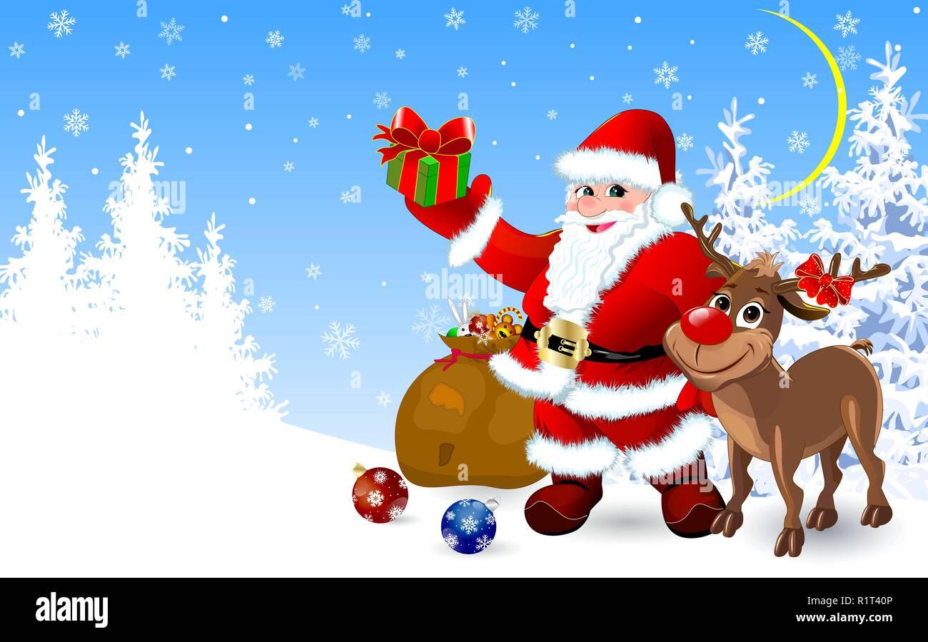 Geschenke Zu Weihnachten.Weihnachtsmann Und Rentier Im Winter Wald Mit Geschenke Für