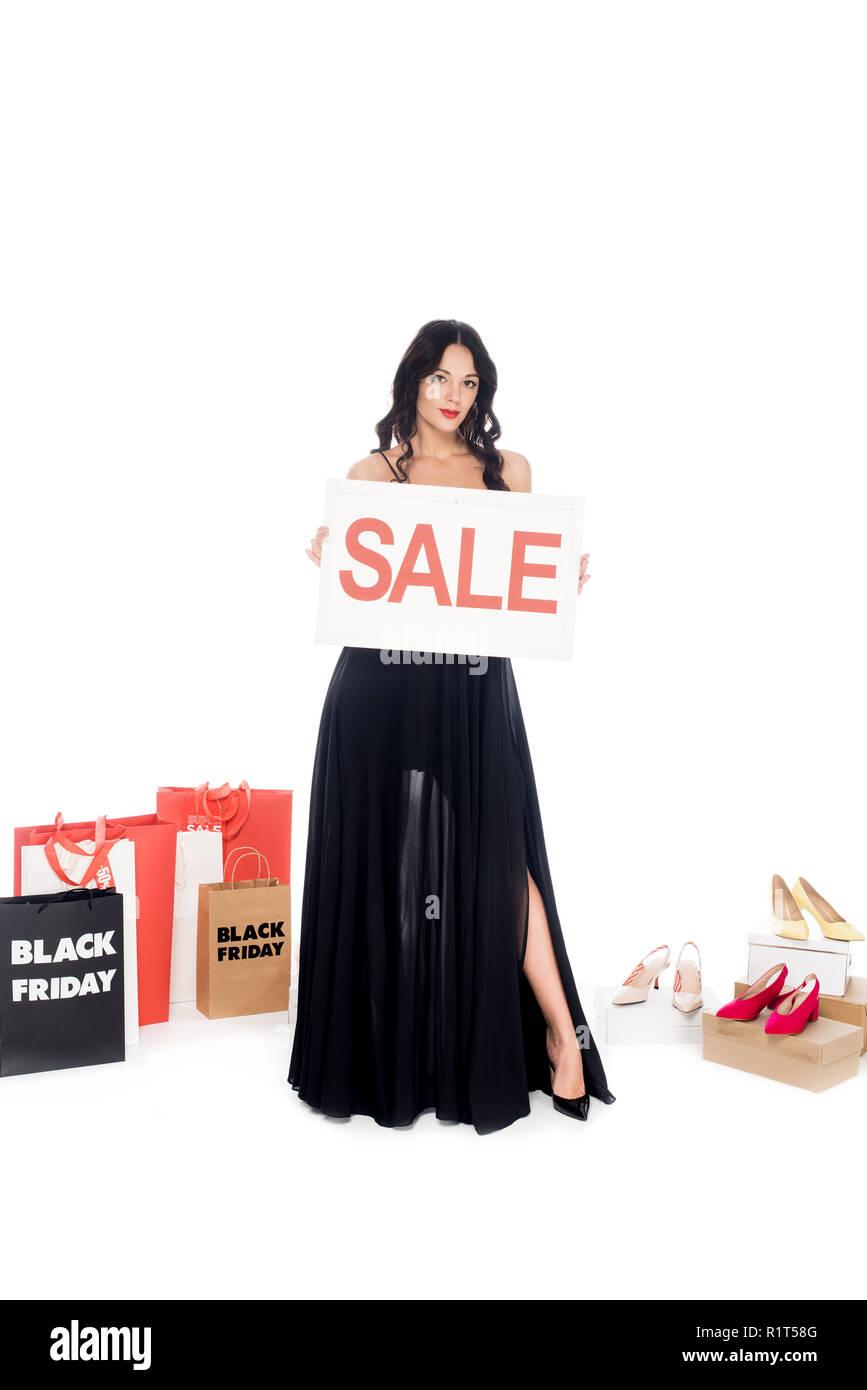 Schone Frau In Schwarzem Kleid Anzeigen Verkauf Banner Mit Shopping
