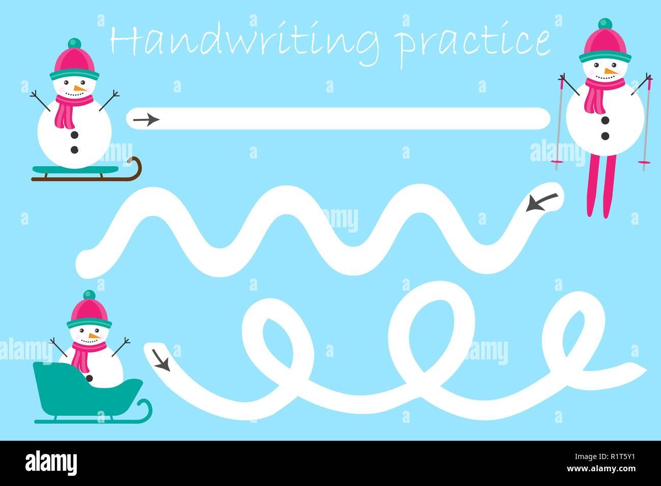 Handschrift Praxis Blatt Weihnachten Thema Schneemänner Kinder Im