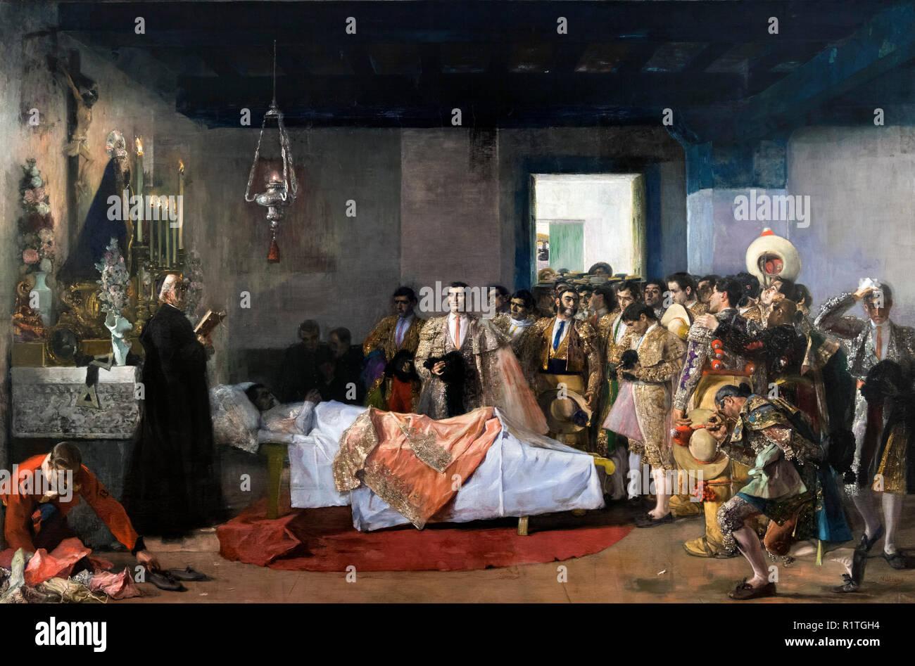 La muerte Del Maestro (Tod des Meisters) von Jose Villegas Cordero (1844-1921), c 1913 Stockbild