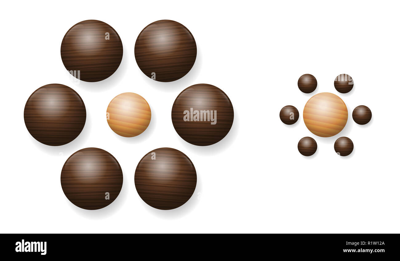 Ebbinghaus Illusion mit Holzkugeln. Optische Illusion der relativen Größe der Wahrnehmung. Die beiden Kugeln in der Mitte sind genau die gleiche Größe. Stockbild