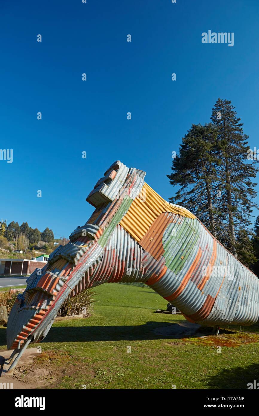 Gumboot Statue (nach Künstler Jeff Thompson), Taihape, Rangitikei, North Island, Neuseeland Stockbild