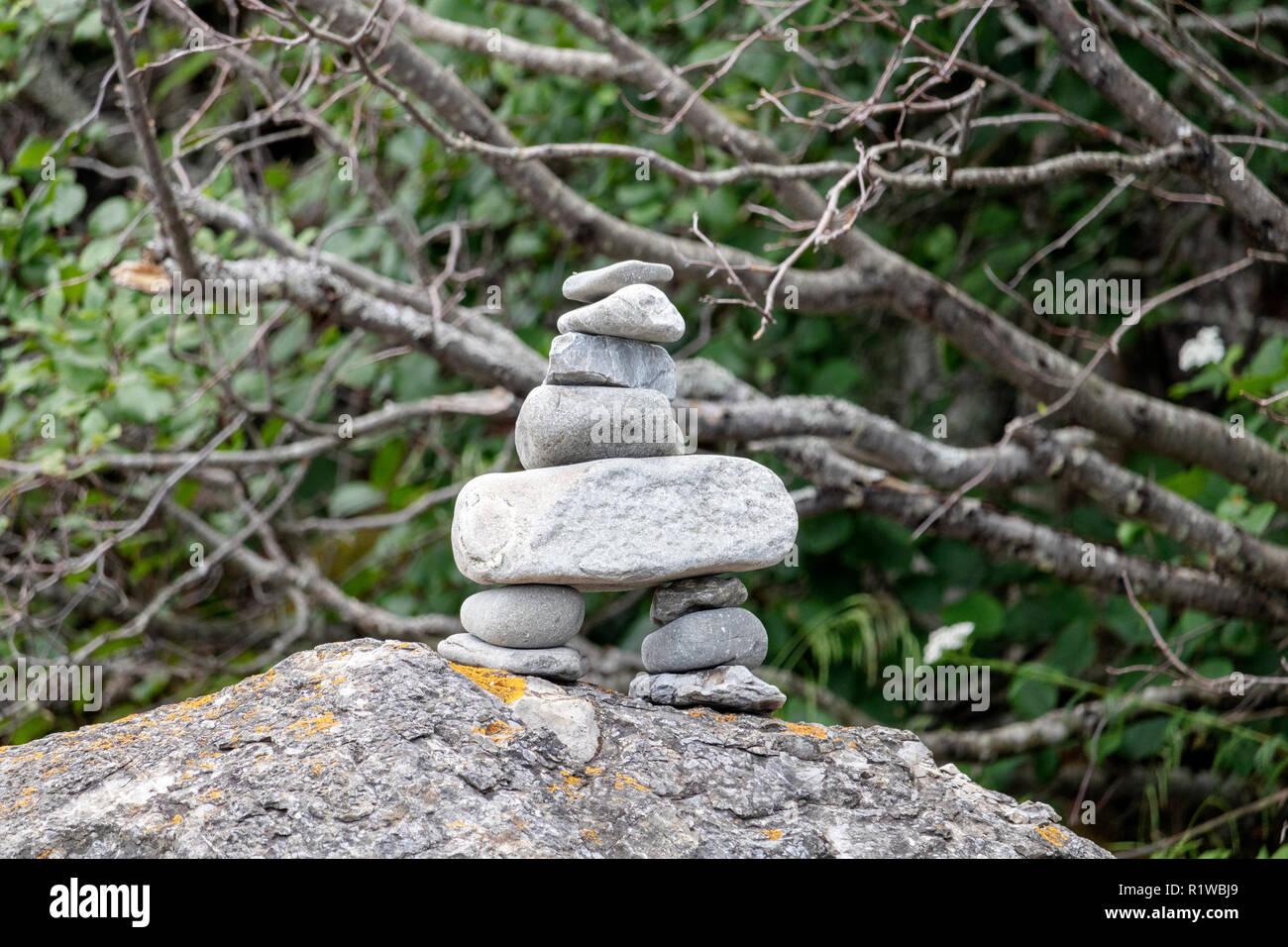 Inukshuk pierre Indien Stockbild