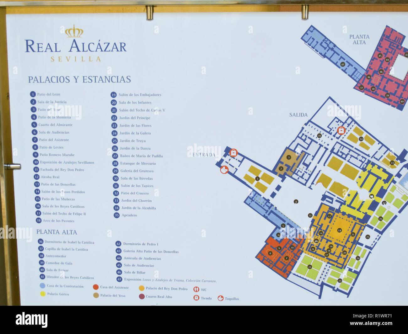 Karte Von Andalusien Spanien.Real Alcazar Karte Sevilla Andalusien Spanien Stockfoto Bild