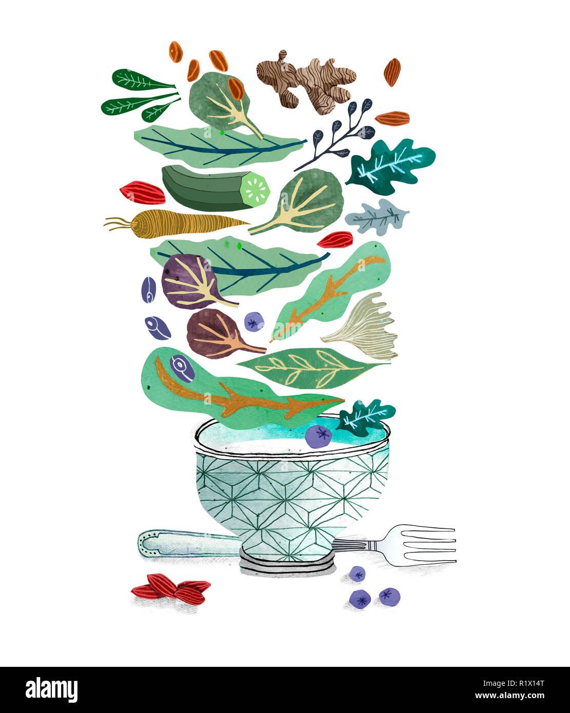 Schüssel und Gabel mit Salat Stockbild
