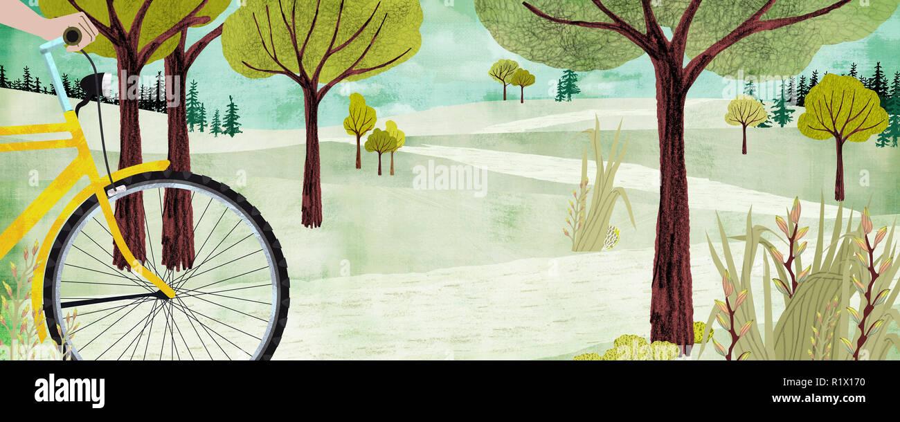 Radfahrer in hügeliger Landschaft Stockbild