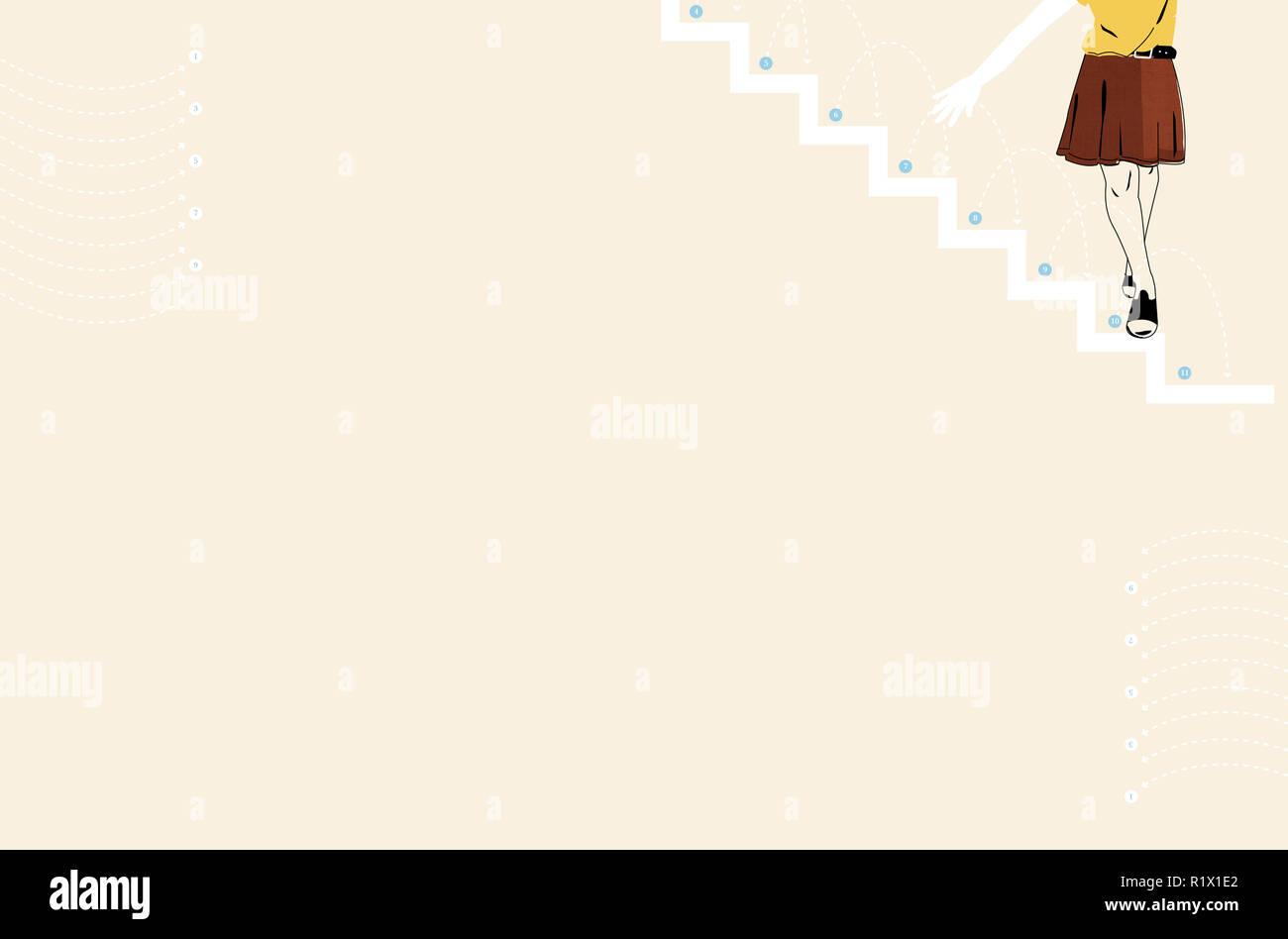 Mädchen zu Fuß von Schritten Stockbild