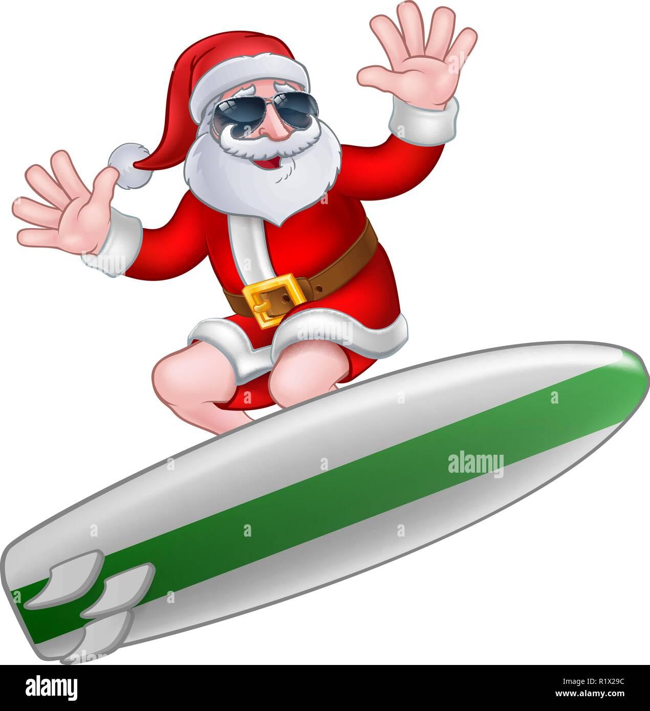 Coole Weihnachten Santa In Den Farben Surfen Vektor Abbildung Bild