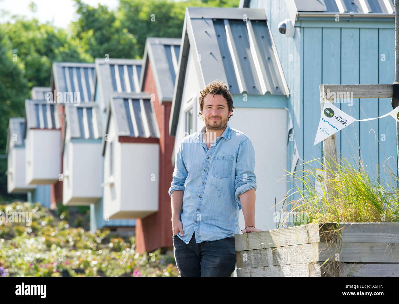 Josh Littlejohn abgebildet auf der gesellschaftlichen Bissen Dorf, Granton, Edinburgh Stockbild