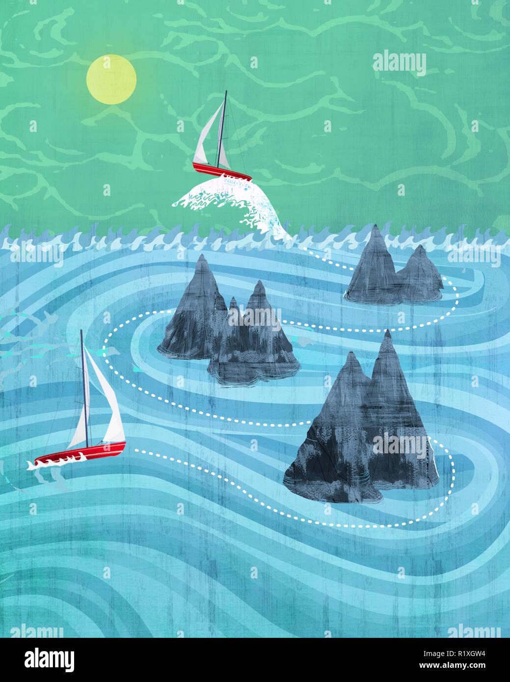 Zwei Boote der Navigation auf Felsen Stockbild