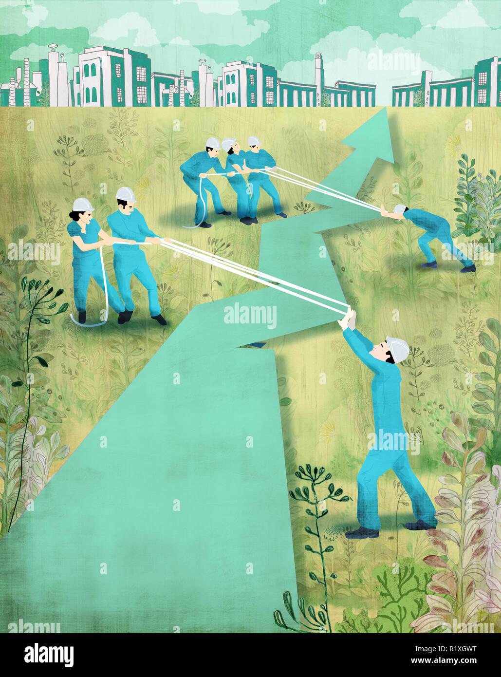 Paar oder workermen versuchen, die Richtung des Betriebs zu verbessern. Stockbild