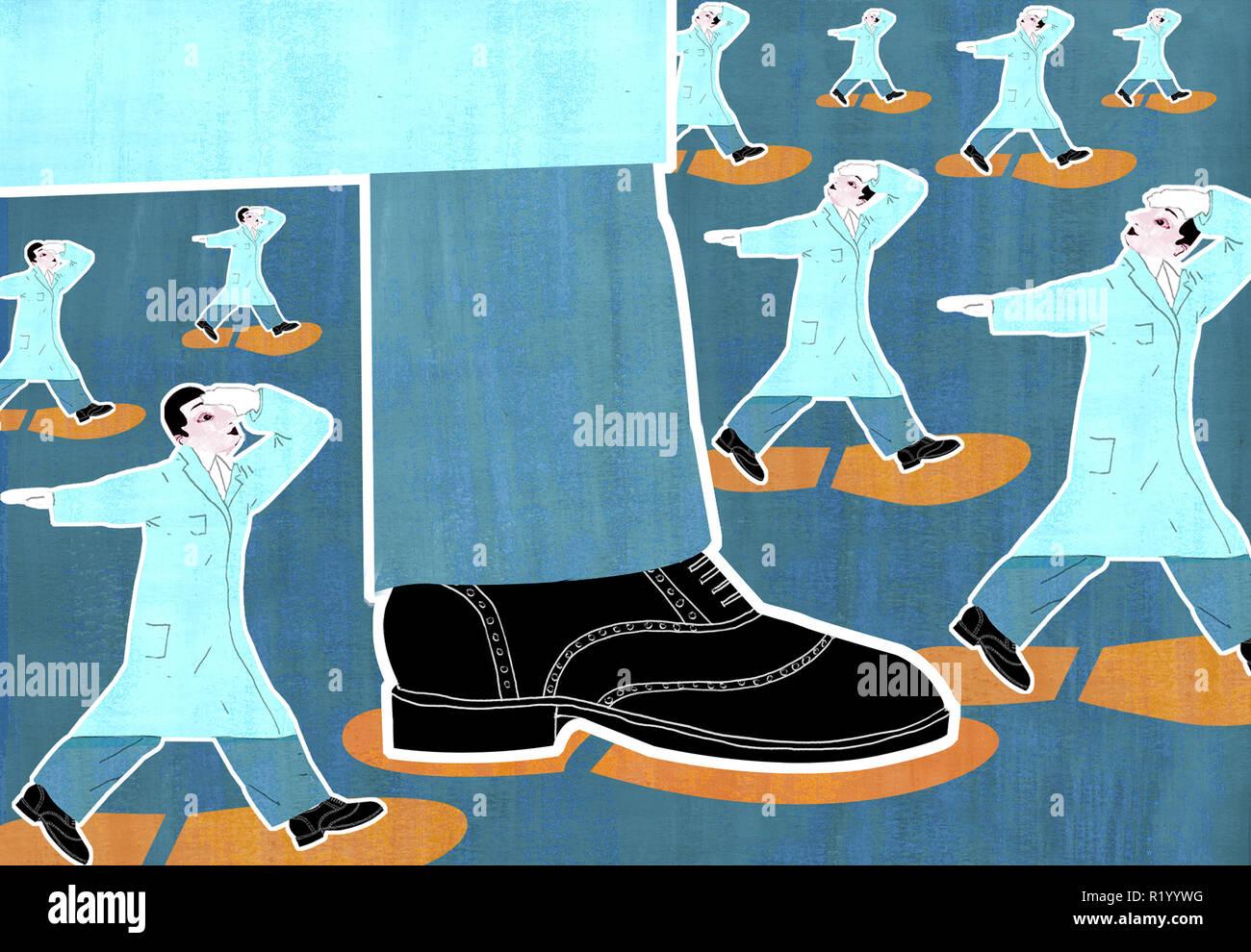 Ärzte in Giant's Spuren Stockbild