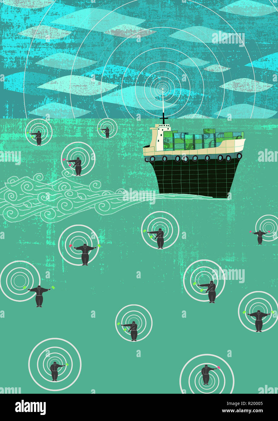 Schiff mit wertvoller Fracht auf See Stockbild