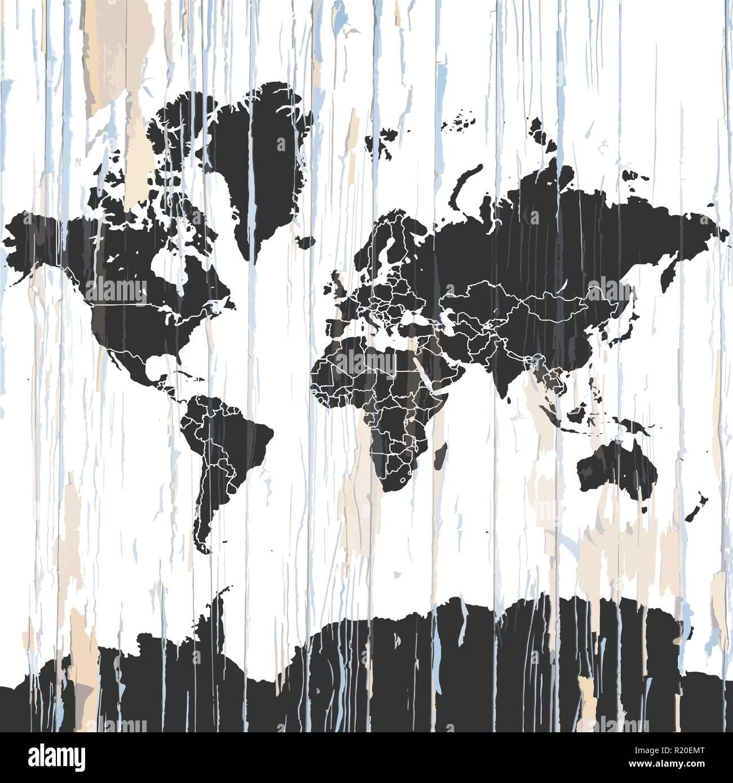 Brilliant Weltkarte Wand Beste Wahl Vintage Auf Holz- Hintergrund. Vector Tration Vorlage