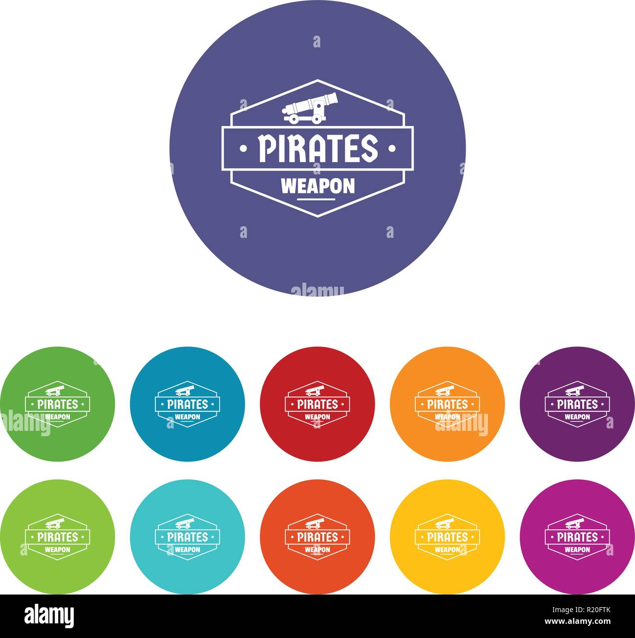 Piraten Kanone Icons Set Vector Farbe Stockbild