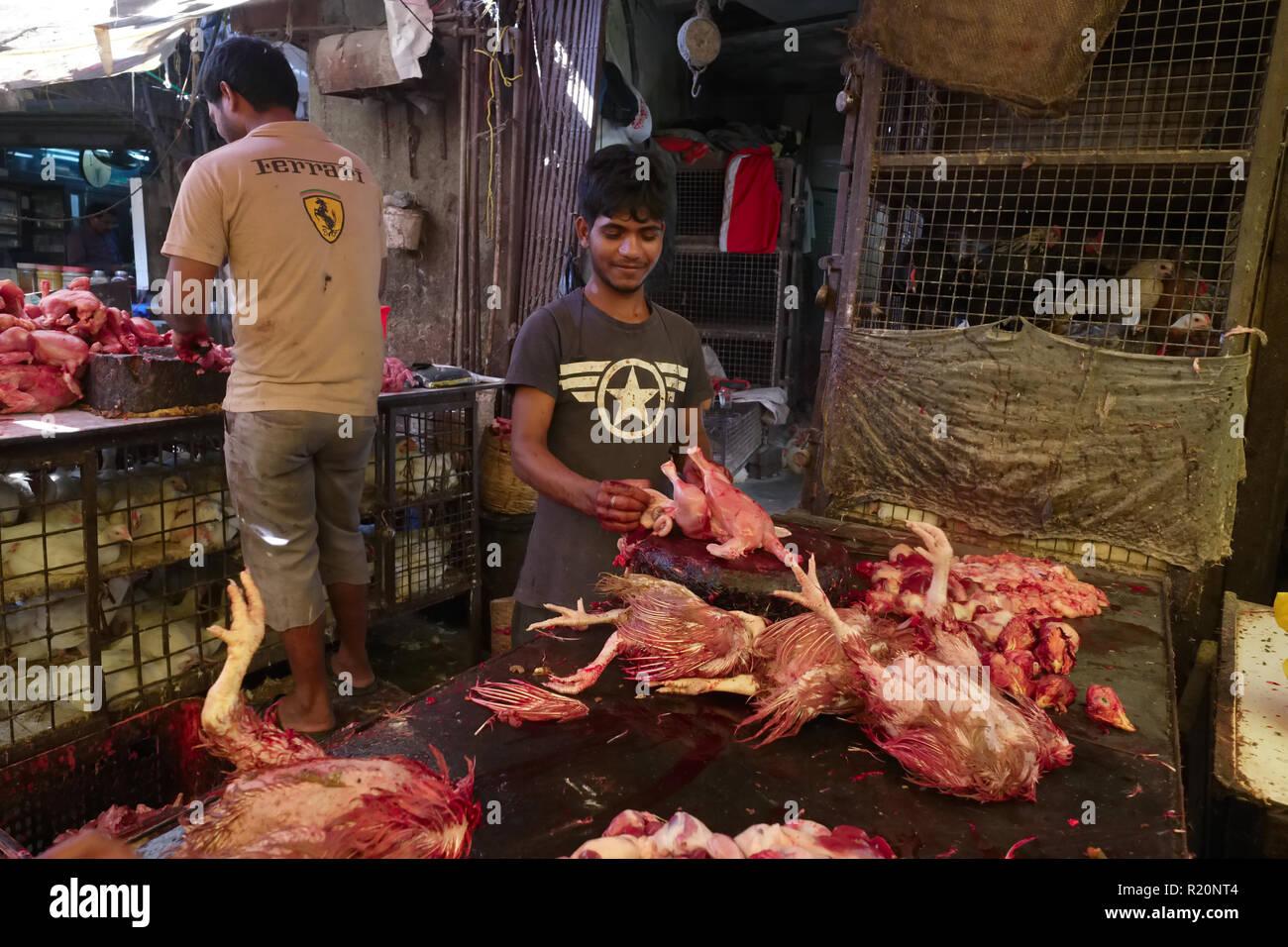 In einem Schlachthof in Null Bazar, Mumbai, Indien, die Tiere getötet und in einer zufälligen, grausame und unhygienischen Weise verarbeitet Stockbild