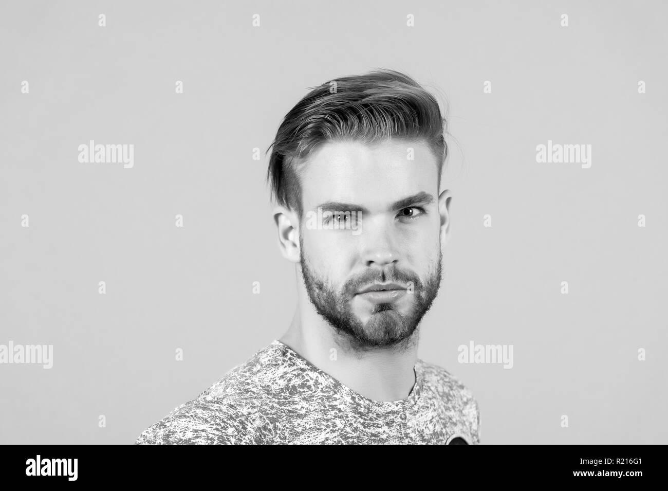 Macho Mit Bartigen Gesicht Bart Mann Mit Blondem Haar Haare
