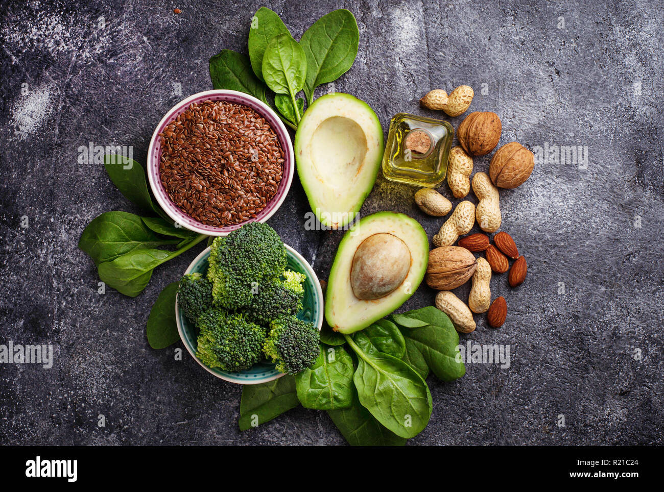 Konzept der gesunden Ernährung. Vegan fette Quellen Stockfoto
