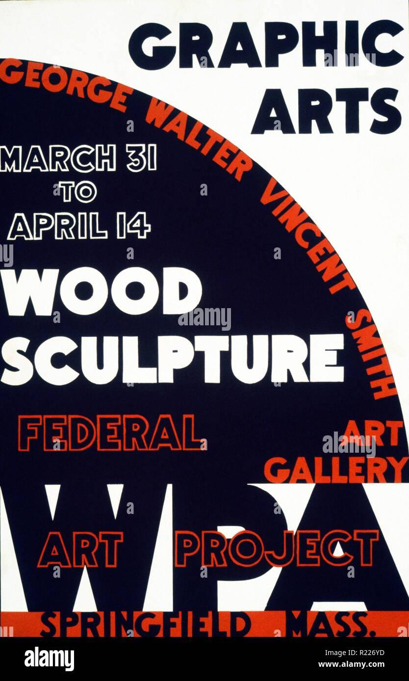 Graphic Arts - Holz Skulptur, George Walter Vincent Smith Kunstgalerie, Springfield, Massachusetts Federal Art Project, 1936 oder 1937. Plakat kündigt Grafik- und Holz Skulpturen-Ausstellung in der George Walter Vincent Smith Art Gallery, Springfield, Mass Stockbild